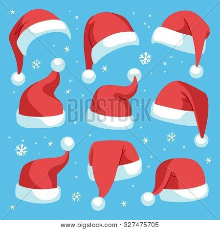 Santa Hats. Red Christmas Santa Hat Design Set, Holiday Masquerade Costume Decoration, Funny Party F