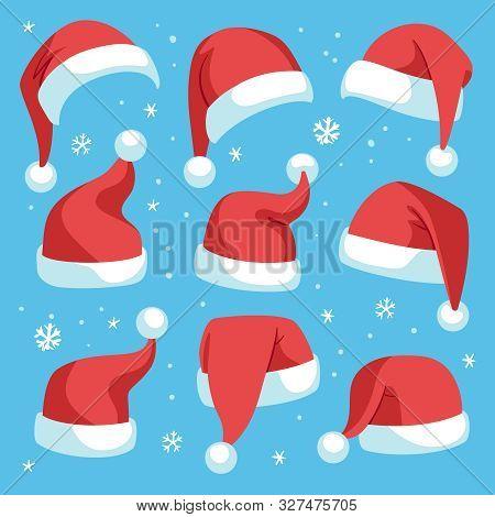 Santa Hats. Red Christmas Santa Hat Design Set, Holiday Masquerade Costume Decoration, Funny Party F