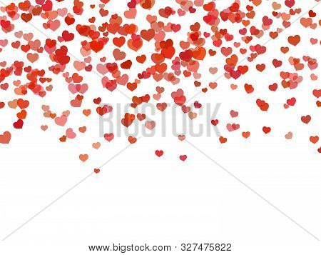 Heart Background. Falling Red Love Hearts Confetti Shapes On White. Valentines Day And Wedding Invit