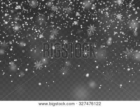 Falling Snow. Christmas Fall Shining Little Snow, Magic White Snowfall Snowflakes Texture, Snowstorm