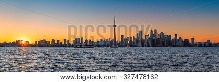 Panoramic View Of Spectacular Toronto Skyline At Sunset,  Toronto, Ontario, Canada.