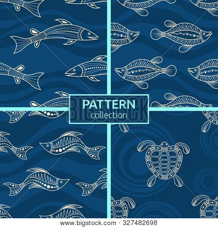 Set Of Four Seamless Fashion Colorful Fish Patterns. Australian Art. Aboriginal Painting Style, Abor