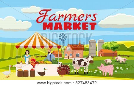 Farmers Market Farmer Family Sell Harvest Products Grocery On Eco Farm Organic. Countryside View Far