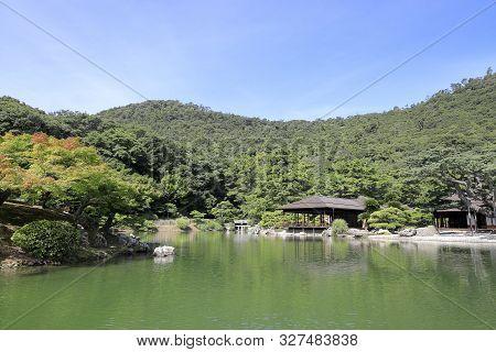 Kikugetsu Teahouse And South Lake In Ritsurin Garden, Takamatsu, Kagawa, Japan