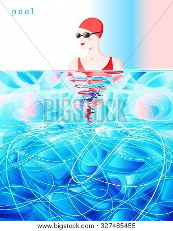 Vector Color Diving Swimmer Competition In The Pool. Sorting Poster.
