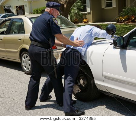 Spread Eagle On Police Car