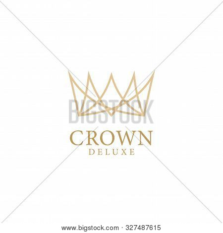 Royal Crowns Delux. Quality Crown Icons. Line Crown Symbol. Vector Illustration