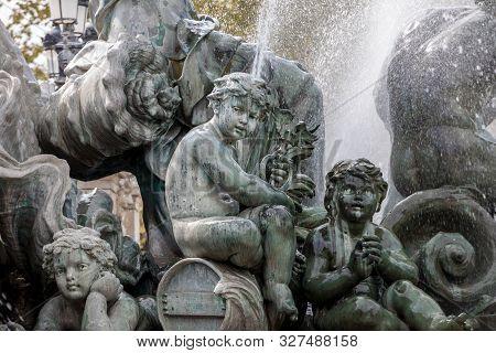Bordeaux, France - September 9, 2018: Esplanade Des Quinconces, Fontain Of The Monument Aux Girondin