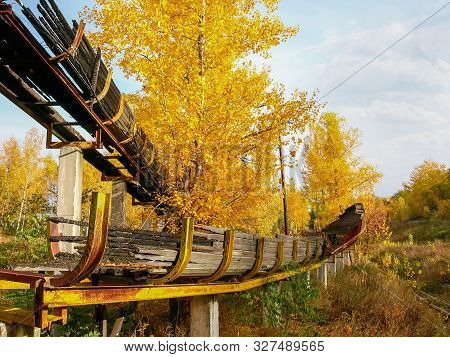 Ruins Of The Chutes Of The Old Abandoned Luge Track Made With Steel Framework And Wooden Covering In