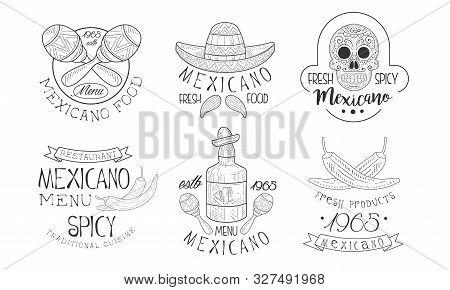 Mexicano Menu Traditional Spicy Cuisine Hand Drawn Retro Labels Set, Fresh Mexicano Food Monochrome