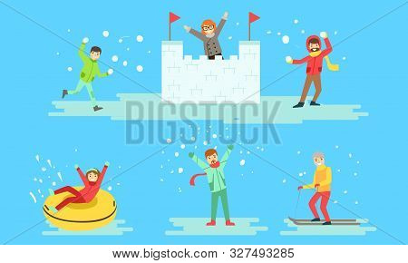 Winter Activities Set, People Playing Snowballs, Riding Snow Tube, Making Snow Castle, Skiing Vector