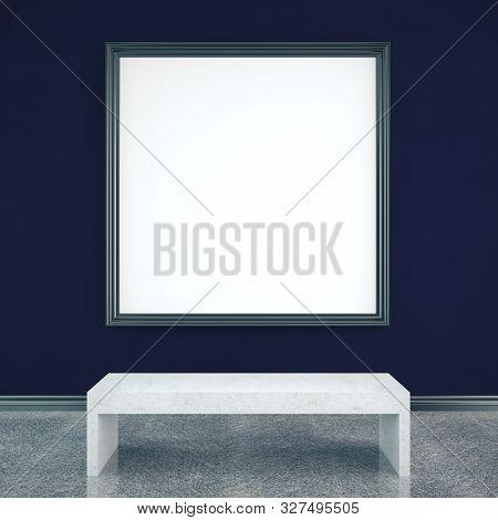 Empty Billboard On Blue Wall