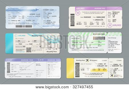 Airline Boarding Pass Ticket Vector Templates, Travel By Plane Design. Flight Cards With Flying Airp