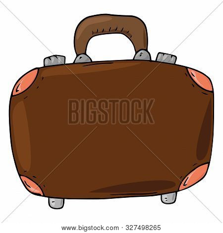Suitcase Icon. Vector Illustration Of A Suitcase For Things. Hand Drawn Suitcase For Travel.