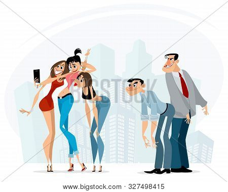 Vector Illustration Of Men Staring At Beauties
