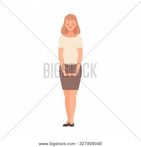 Joyfull Woman On White Background Cartoon Illustration Vector