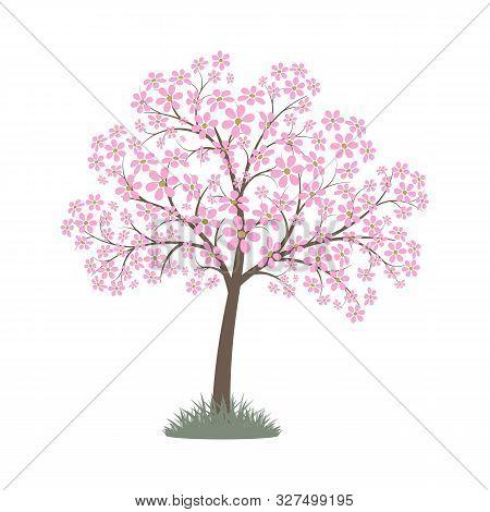 Blooming Pink Flowers Spring Tree. Vector Image. Eps 10
