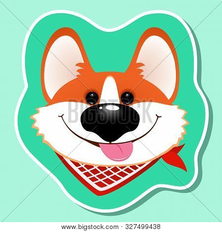 Cute Corgi Dog Portrait.  Funny Puppy Face On Blue Background. Vector Sticker