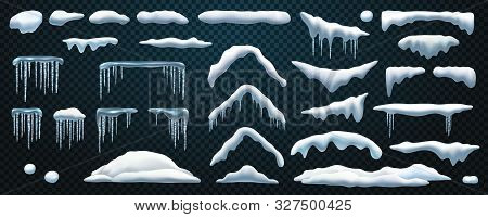 Set Of Isolated Snowdrift And Icicle, Snow Cap And Snowball, Snowflake Decoration Or Ice Template, F