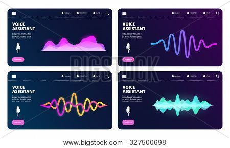 Audio Assistant Landing Page. Vector Voice Personal Assistant Web Banners With Sound Waves. Illustra