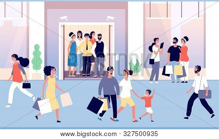 People Recognition In Crowd. Guys Are Recognized By Modern Face Identification Software, Cctv Camera