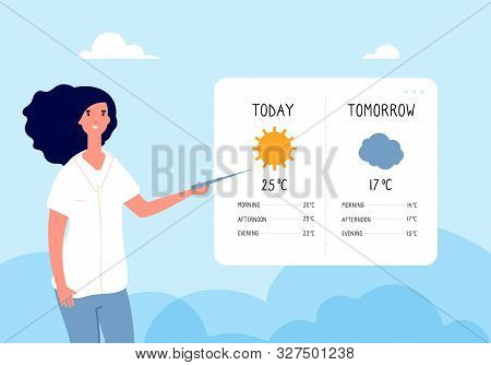 Weather Forecast Concept. Woman Forecasting Weather In Tv News. Vector Flat Illustration. Forecast W