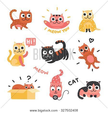 Cartoon Cats. Funny Kittens Of Different Colors, Funny Lazy Cat Characters. Lovely Playful Pets, Hom