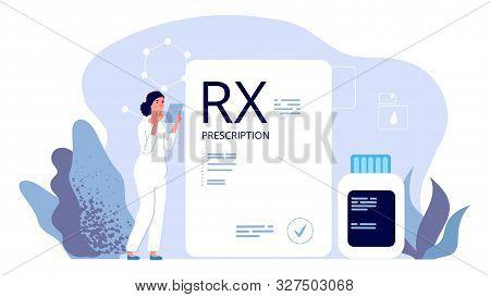 Rx Prescription. Pharmacist Illustration, Painkiller Medication Prescription. Vector Pharmeceutical