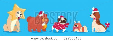 Christmas Dogs. Winter Vector Animals. Cute Cartoon Dogs In Santa Hat, Scarf With Gifts. Holiday Pet