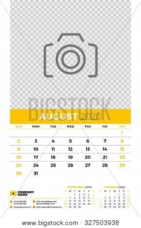 Wall Calendar Planner Template For August 2020. Week Starts On Sunday. Typographic Design Template.