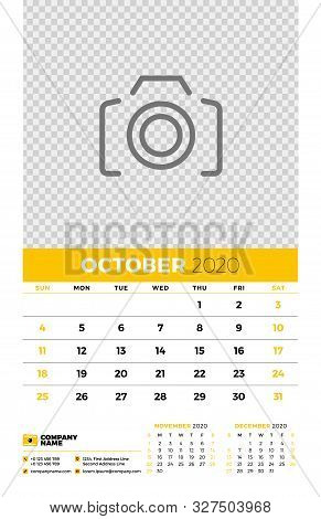 Wall Calendar Planner Template For October 2020. Week Starts On Sunday. Typographic Design Template.