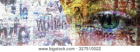 Contemporary Art Fashion Grunge Background. Beautiful Green Female Eye On Newspaper Texture. Newspap