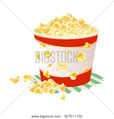 Sweet Or Salty Popcorn In Big Paper Cup On Napkin. Maize Corns Which Expanded And Puffed Up When Hea