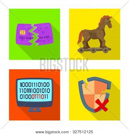 Vector Illustration Of Virus And Secure Logo. Collection Of Virus And Cyber Vector Icon For Stock.