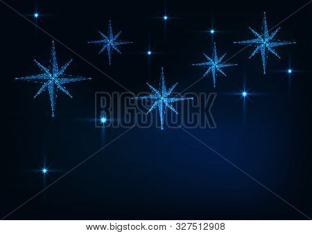 Starry Sky With Glowing Nativity Stars Web Banner Template For Christmas On Dark Blue Background.