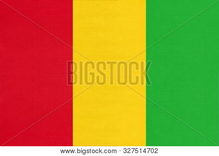 Guinea National Fabric Flag, Textile Background. Symbol Of International African World Country. Stat