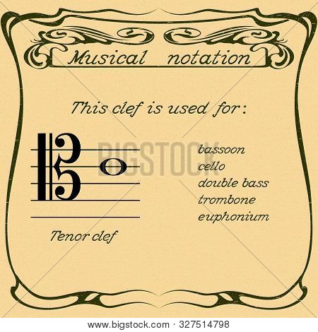 Tenor Clef Using. Color Illustration Music. Vector.