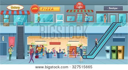 Mall Interior. Retailers Hypermarket Commercial Shopping Big Hall Windows Vector Cartoon Illustratio