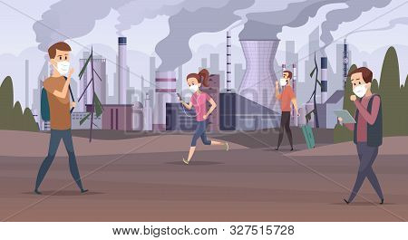 Mask Pollution. Smog In City Urban Factory Sad People In Mask Bad Environment Vector. Illustration S