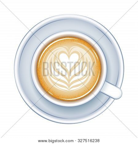 Coffee Cup Top View Vector Illustration. Hot Drink Icon.