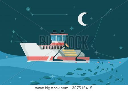 Fishing Boat In Sea. Marine Sky Night Landscape Ship Ocean Water Surface Sailing Transport For Fishi