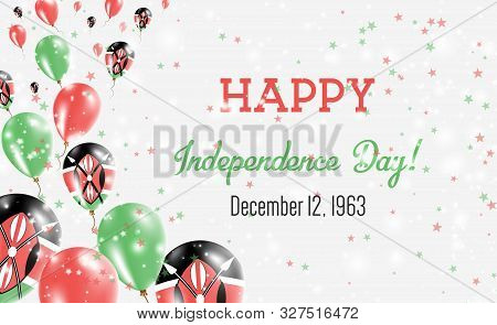 Kenya Independence Day Greeting Card. Flying Balloons In Kenya National Colors. Happy Independence D