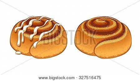 Cinnamon Rolls With Sugar Icing Set In Cartoon Style Vector Illustration.