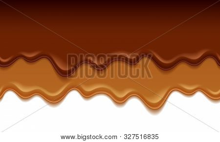 Molten Chocolate And Caramel Drips - Vector Background. Sweet Texture. Soft Icing. Seamless Horizont