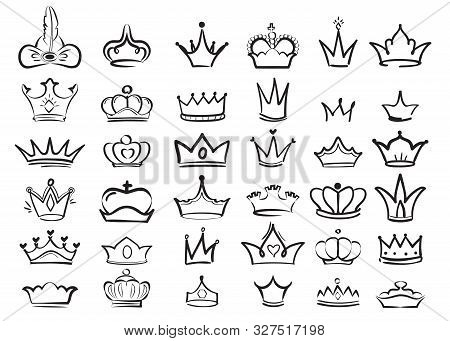 Crown Doodles. Imperial King Diadem Regal Symbols Majestic Sketch Vector Set. Illustration Drawing C