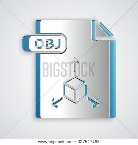 Paper Cut Obj File Document. Download Obj Button Icon Isolated On Grey Background. Obj File Symbol.