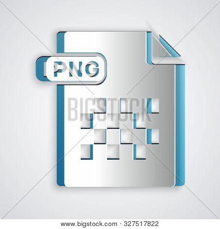 Paper Cut Png File Document. Download Png Button Icon Isolated On Grey Background. Png File Symbol.
