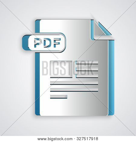 Paper Cut Pdf File Document. Download Pdf Button Icon Isolated On Grey Background. Pdf File Symbol.