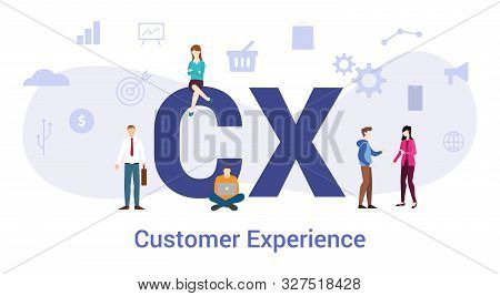 Cx Customer Experience Concept With Big Word Or Text And Team People With Modern Flat Style - Vector