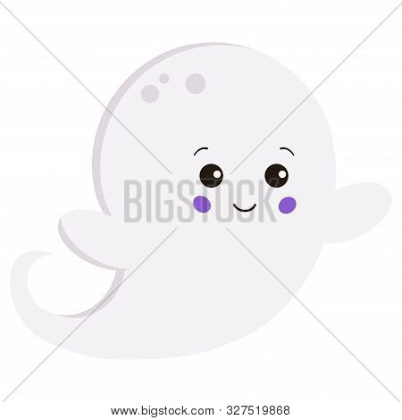 Vector Flat Style Kawaii Little Cute Sweet Cartoon Baby Boy Ghost Isolated On White Background.